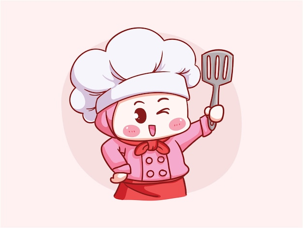 Leuke en kawaii moslim vrouwelijke chef-kok die hijab holding spatula manga chibi draagt