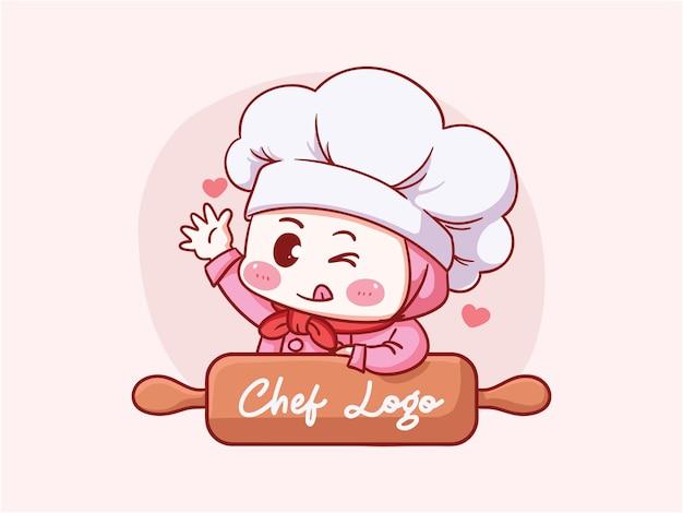 Leuke en kawaii moslim vrouwelijke chef-kok die hijab met houten deegroller manga chibi draagt