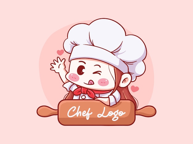 Leuke en kawaii vrouwelijke chef-kok met deegroller manga chibi illustratie logo