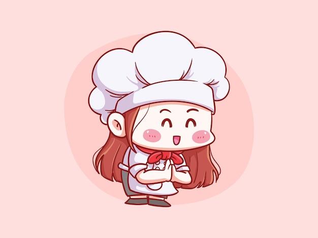 Leuke en kawaii vrouwelijke chef-kok welkom, bedankt, booggebaar manga chibi-illustratie