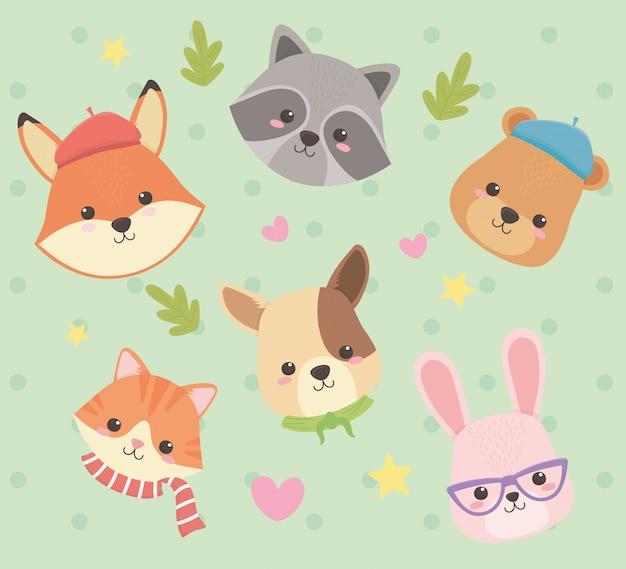 Leuke en kleine dieren met bladeren en harten karakters