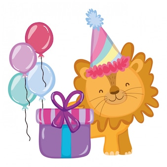 Leuke en kleine leeuw met feestmuts