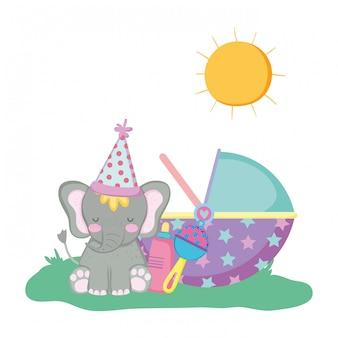Leuke en kleine olifant met feestmuts
