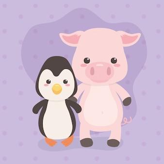 Leuke en kleine pinguïn- en varkenskarakters