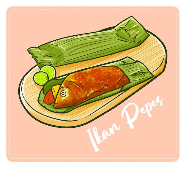 Leuke En Lekkere Ikan Pepes Een Traditioneel Gerecht Uit Vele Plaatsen In Indonesie Gemaakt Van Vis En Veel Kruiden En Voorzichtig Gegrild Premium Vector