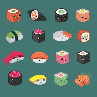 Leuke en leuke japanse sushi vector stripfiguren