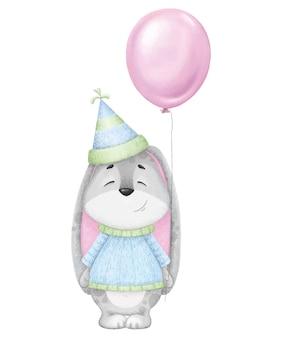 Leuke en mooie cartoon haas met ballon en hoed. digitale verjaardag illustratie.