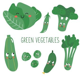 Leuke en vrolijke groene groenten met gezichtsuitdrukking in doodle-stijl