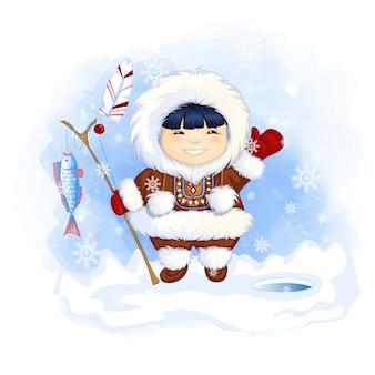 Leuke eskimo-jongen houdt een hengel vast met een gevangen vis en zwaait met zijn hand in groet.
