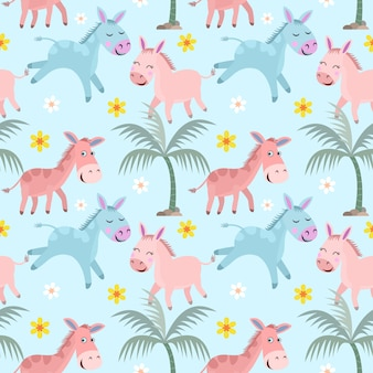 Leuke ezel die en op blauwe achtergrond met kokospalm in de zomer lopen spelen.
