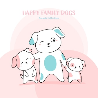 Leuke familie hond hand getrokken stijl