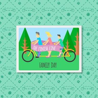 Leuke familie met een fiets flat foto