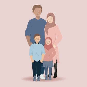 Leuke familie moslim stripfiguur van vader, moeder, zoon en dochter staan samen