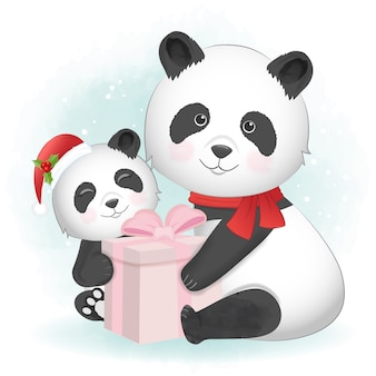 Leuke familie panda met geschenkdoos aquarel illustratie