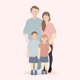 Leuke familie stripfiguur van vader, moeder, zoon en dochter staan en samen een pose aannemen