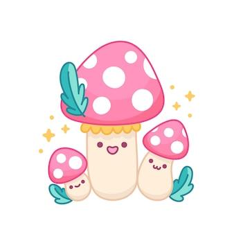 Leuke familie van paddenstoelenvliegenzwam met roze cape en vlekken
