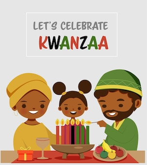 Leuke familiebeeldverhaal die festival kwanzaa vieren