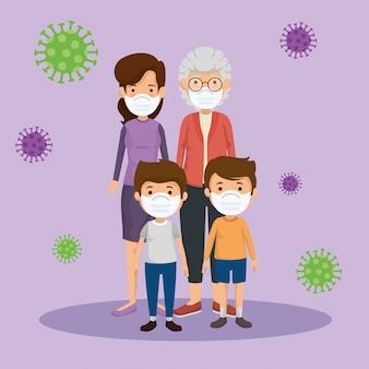 Leuke familieleden die een gezichtsmasker gebruiken met deeltjes 2019-ncov
