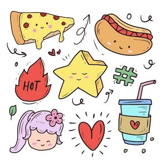 Leuke fastfood stripfiguur doodle tekening