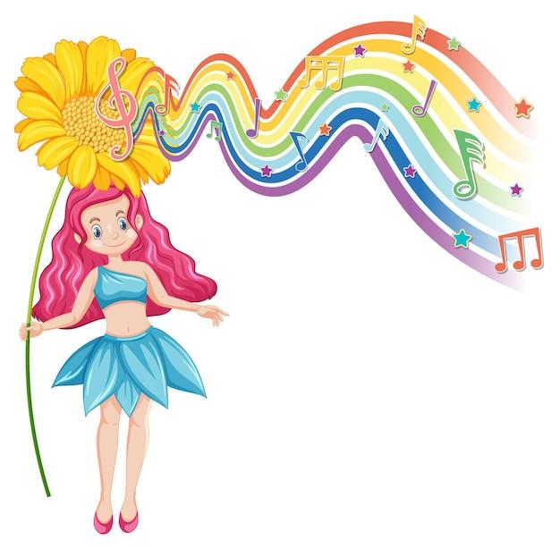 Leuke fee stripfiguur met melodie regenbooggolf