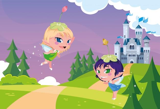 Leuke feeën met kasteel fairytale in bergachtig landschap