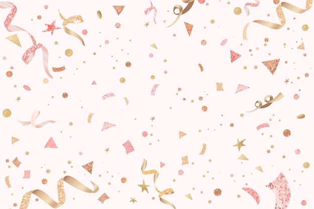 Leuke feestelijke linten feest viering roze achtergrond Gratis Vector
