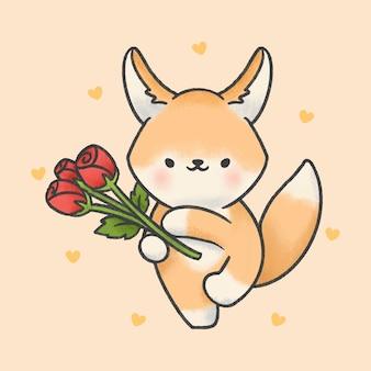 Leuke fennec fox en roze bloemen cartoon hand getekende stijl