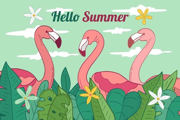 Leuke flamingo's hand getekende achtergrond