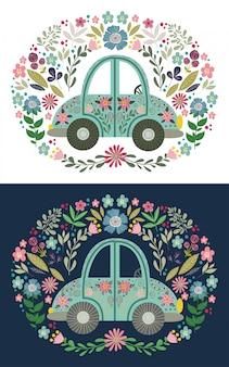 Leuke folk cartoon auto met veel bloemen elementen en patronen. hand tekenen platte vectorillustratie