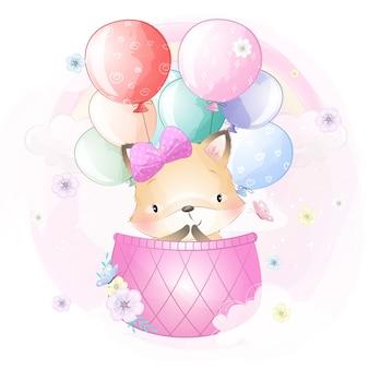 Leuke foxy die met luchtballon vliegt