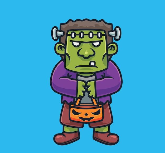 Leuke frankenstein brengt een pompoenzak cartoon halloween concept geïsoleerde illustratie flat style