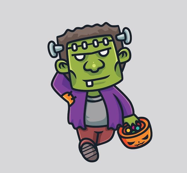 Leuke frankenstein brengt een snoep pompoen cartoon halloween concept geïsoleerde illustratie