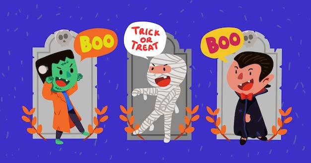 Leuke frankenstein, mummy en dracula op thomb stone halloween character illustration set