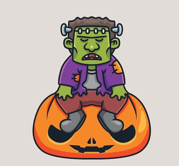 Leuke frankenstein zittend op gigantische pompoen cartoon halloween concept geïsoleerde illustratie