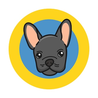 Leuke franse buldog met een zwarte kleur van wol op een gele en blauwe cirkel.