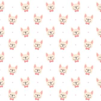 Leuke franse bulldog naadloze achtergrond herhalend patroon, wallpaper achtergrond, leuke naadloze patroon achtergrond