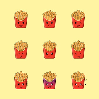 Leuke frietjes illustratie set met verschillende uitdrukkingen