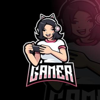 Leuke gamer girl cartoon speelspel