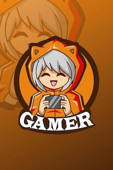 Leuke gamer jongen logo e sport illustratie