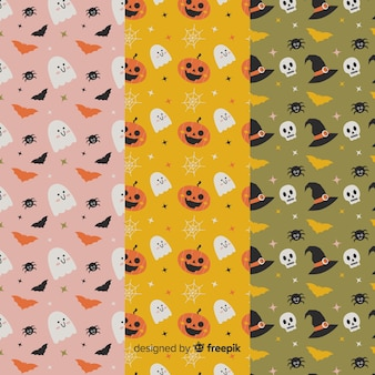 Leuke geanimeerde cartoons platte halloween patroon collectie