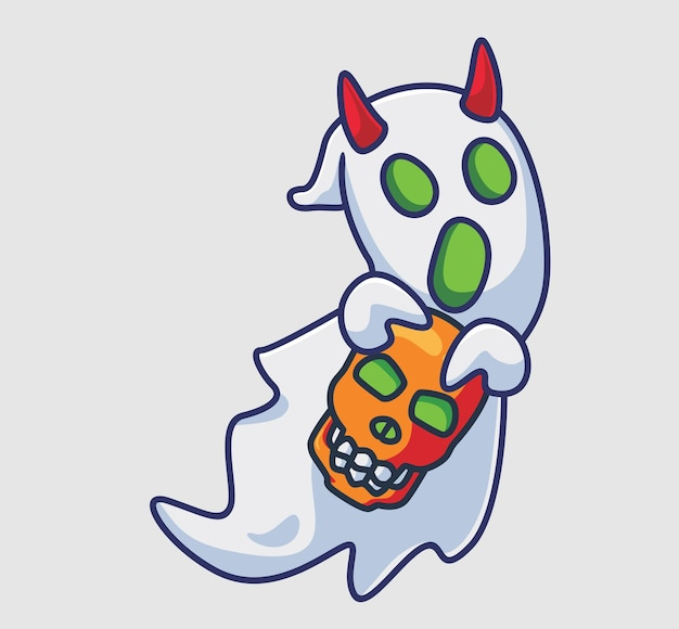 Leuke gehoornde geest brengt een schedel geïsoleerde cartoon halloween-illustratie flat style
