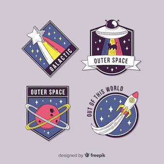 Leuke geïllustreerde geplaatste ruimtestickers