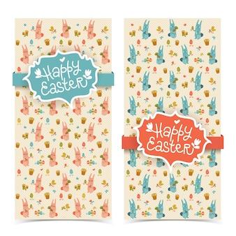Leuke geïsoleerde verticale banners van krabbel gelukkige pasen met de wortelenbloemen van konijntjeskuikens en eieren vectorillustratie