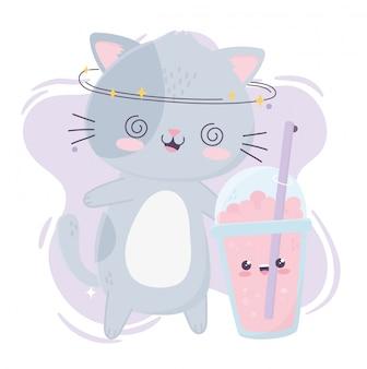 Leuke gekke kat met kawaii stripfiguur van milkshakesnack