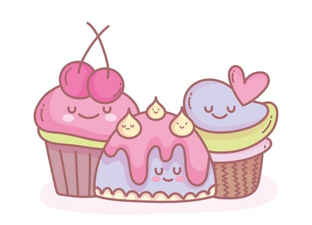 Leuke gelei en zoet cupcakes cartoonvoedsel