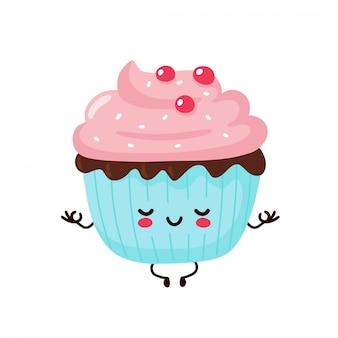 Leuke gelukkig lachend cupcake mediteren in yoga pose. platte cartoon karakter illustratie pictogram ontwerp. geïsoleerd op een witte achtergrond. cupcake, cake, dessert menu concept
