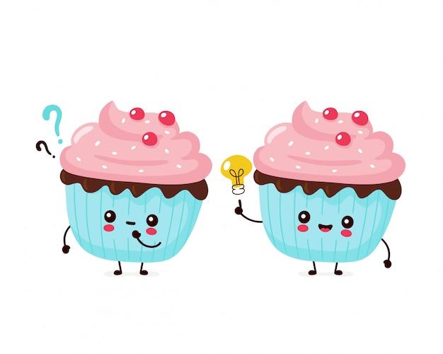 Leuke gelukkig lachend cupcake. platte cartoon karakter illustratie pictogram ontwerp. geïsoleerd op een witte achtergrond. cupcake, cake, dessert menu concept