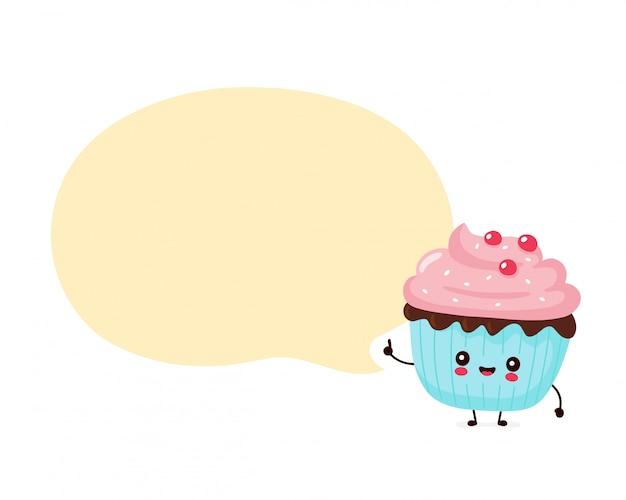 Leuke gelukkig lachend cupcake. stripfiguur.