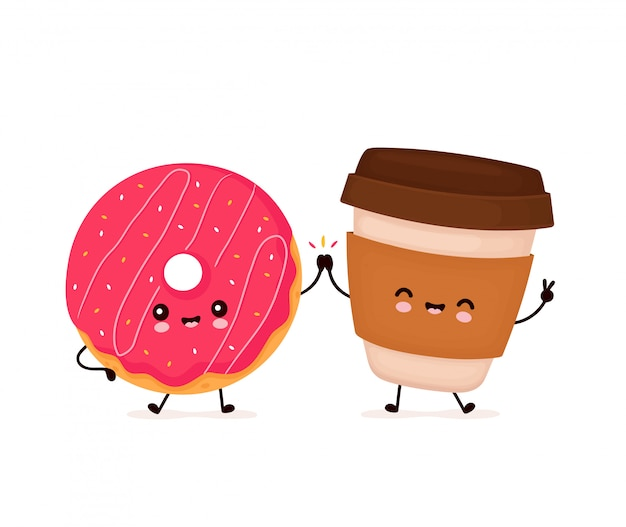 Leuke gelukkig lachend donut en koffiekopje. platte cartoon characterdesign illustratie. geïsoleerd op een witte achtergrond. donut, bakkerij menu concept