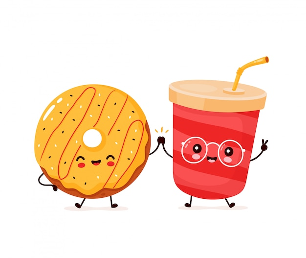 Leuke gelukkig lachend donut en soda water. platte cartoon characterdesign illustratie. geïsoleerd op een witte achtergrond. donut, frisdrank, fastfood menu concept